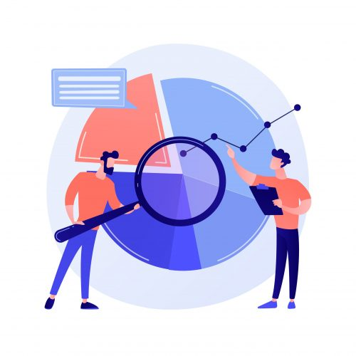 Statistical analysis. Man cartoon character with magnifying glass analyzing data. Circular diagram with colorful segments. Statistics, audit, research. Vector isolated concept metaphor illustration